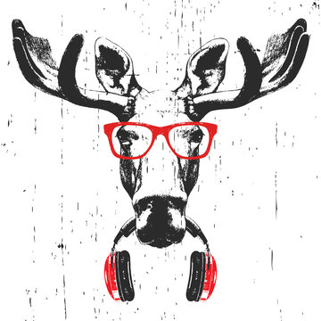 Portrait of Moose with glasses and headphones. Hand-drawn illustration. T-shirt design. Vector