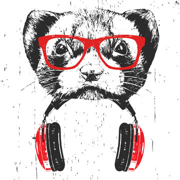 Portrait of Least Weasel with glasses and headphones. Hand-drawn illustration. Vector
