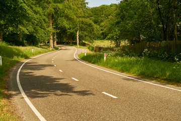 Leere Straße mit S-Kurve im Sommer Fototapete
