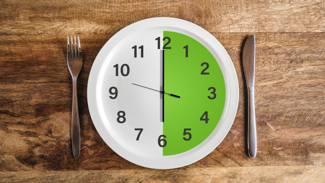 Intermittent fasting six hour feeding window concept with green zone and clock on plate