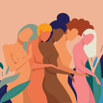 Row of naked women in nature, illustration
