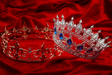 Royal authority, monarchy and ruling class concept with princess or queen silver crown with...