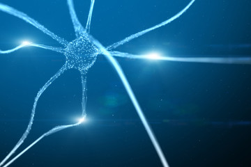 Shining neuron cell on blue artistic copy space illustration background.