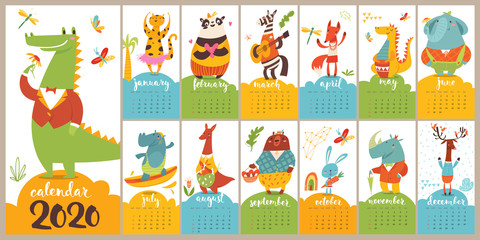 Modern style cartoon vector 2020 calendar with funny wild animals