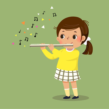 Vector illustration of cute little girl playing the flute on green background.