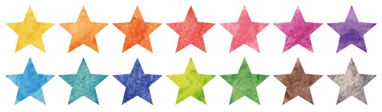 Colorful watercolor drawing star set