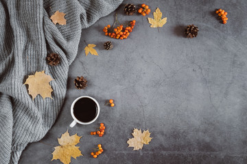 Winter composition. A cup of coffee, sweater, cones, berry rowan and autumn leaves maple on dark concrete background. Autumn, winter concept. Flat lay, top view, copy space Wall mural