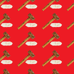 Seamless industrial pattern with rope and hammer on red background