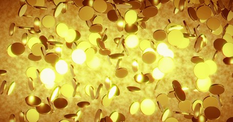Golden coins. Business and finance concept background. 3D rendering