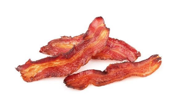 cooked slices of bacon
