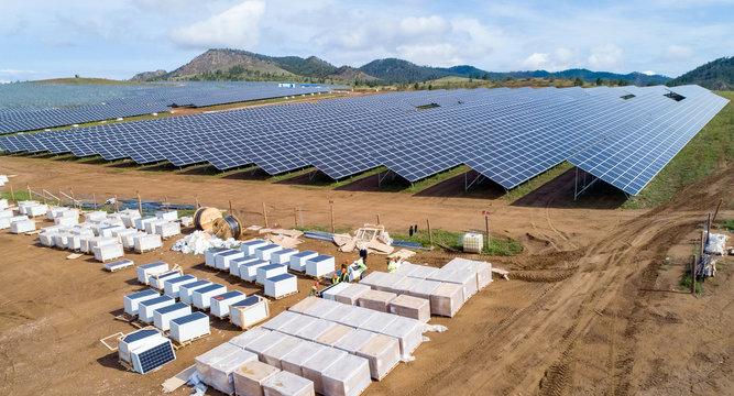 Solar panel energy electricity construction installation built