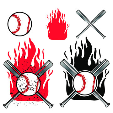 Baseball ball front and cross baseball bat on flame background. Element of sport baseball for logo design.