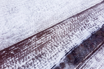 Aerial winter landscape picture from a snowy field in Hungary