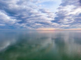 Nice clouds reflection on the lake Balaton in Hungary, aerial picture