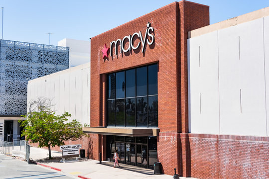 August 9, 2019 San Jose / CA / USA - Exterior view of Macy's store entrance located in a shopping mall in South San Francisco bay area