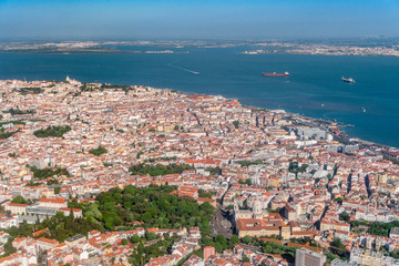 Aerial view of Alfama and Tagus river in Lisbon, Portugal