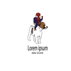 dog and spiderman illustration logo symbol vector