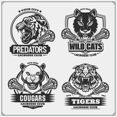 Set of lacrosse emblems, badges, logos and labels with tiger, cougars and wildcat. Print design for t-shirt.