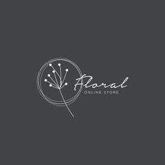 Hand drawn minimal floral logo template illustration