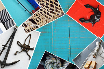 Collage with travel images on wooden background, travel concept background