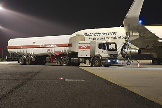 BUDAPEST, HUNGARY - NOVEMBER 11, 2015: UPS cargo aircraft being refueled at Budapest Liszt Ferenc International airport.