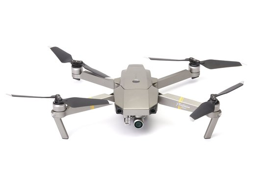 BUDAPEST, HUNGARY - DECEMBER 10, 2017: Drone on white background, DJI Mavic Pro Platinum. DJI is one of the most popular manufacturers of consumer drones