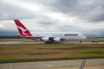 MELBOURNE, AUSTRALIA - APRIL 3: Qantas Airbus A380 taxiing at Melbourne Airport, April 3th, 2014. The Airbus A380 is the largest passenger aircraft.