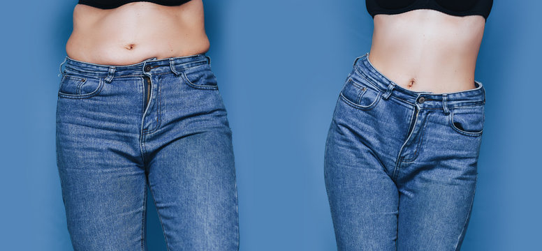 Portraits of woman before and after from fat to slim concept standing blue background