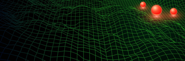 Landscape with wireframe grid of 80s styled retro computer game Wall mural