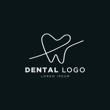 One line drawing minimal style dental logo template