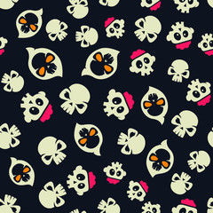Cute Skull Mix Halloween Seamless Pattern
