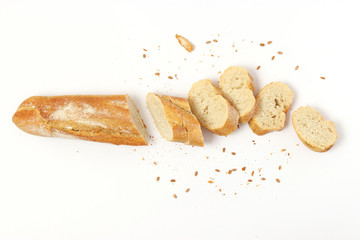fresh bread on a white background top view.