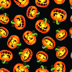 Halloween Pumpkins on Dark Background Seamless Pattern