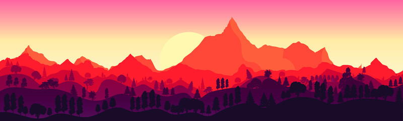 landscape with high mountains and forest in several layers in evening in warm tone. Vector illustration.  Flat design. The sun sets over the mountains.