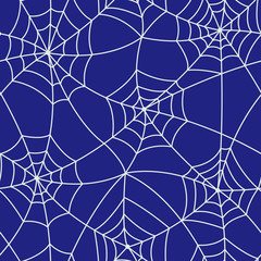 Purple Halloween Spider Web Seamless Pattern
