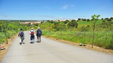 Arrival of pilgrims to Aljucén village in the Way to Santiago (Via de la Plata) at province of Badajoz Extremadura.