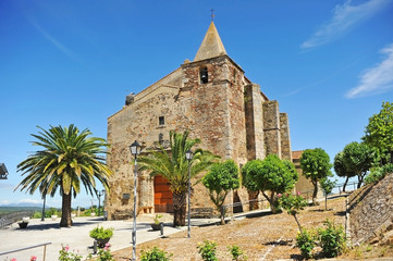 Church of St Andrew (San Andrés) in Aljucen village near Merida in Way of Santiago (Via de la Plata) at the province of Badajoz Extremadura Spain