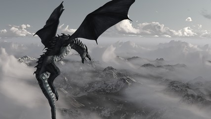 High resolution Ice dragon 3D rendered. Write your text and use it as poster, header, banner or etc.
