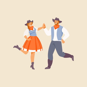 Square dance American dance vector