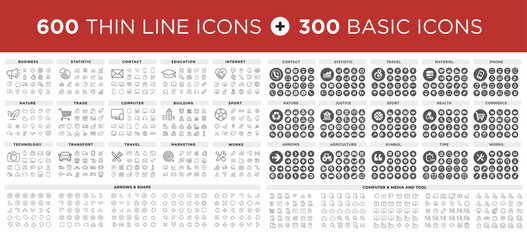 MEGA Vector illustration of thin line icons and basic icons for business, banking, contact, social media, technology, seo, logistic, education, sport, medicine, travel, weather, construction, arrow