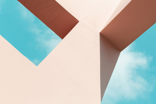 Abstract pink painted concrete structure
