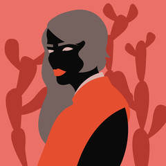 Woman in front of cactuses