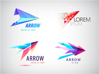 vector set of abstract arrow logos, icons isolated. Point logo, web abstract, direction