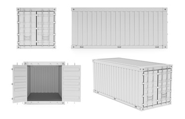 White shipping freight containers. 3d rendering illustration