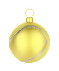 Golden tennis ball like Christmas ornament