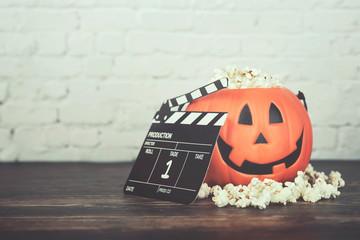Happy Halloween.Halloween pumpkin with popcorn