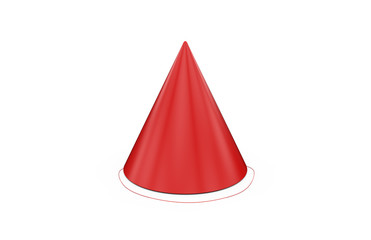 Birthday party hat for mock up template on isolated white background, ready for design presentation, 3d illustration