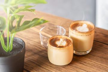 Hot cappucino in coffee shop.