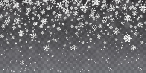 Christmas snow. Heavy snowfall. Falling snowflakes on transparent background. White snowflakes flying in the air. Vector illustration Fototapete