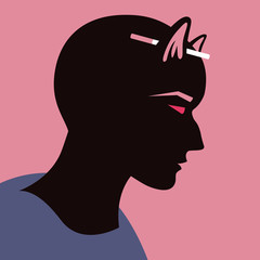 Person with cat ears